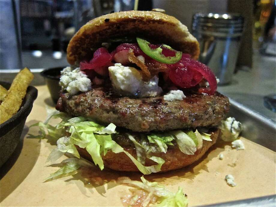 Texas Blues Burger at Fielding's Wood Grill in The Woodlands Photo: Alison Cook