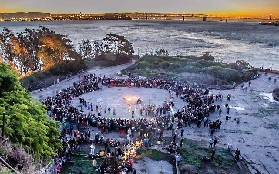 A crowd takes part in last year's Indigenous Peoples' Thanksgiving Sunrise Gathering on Alcatraz Island in San Francisco Bay. Photo: NPS-Alison Taggart-Barone, National Park Service