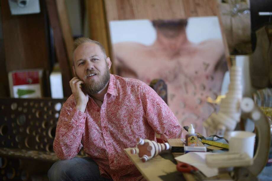 Chris Sauter is doing a series of exhibitions that deal with what he calls the false dichotomy between religion and science. Photo: Billy Calzada / San Antonio Express-News
