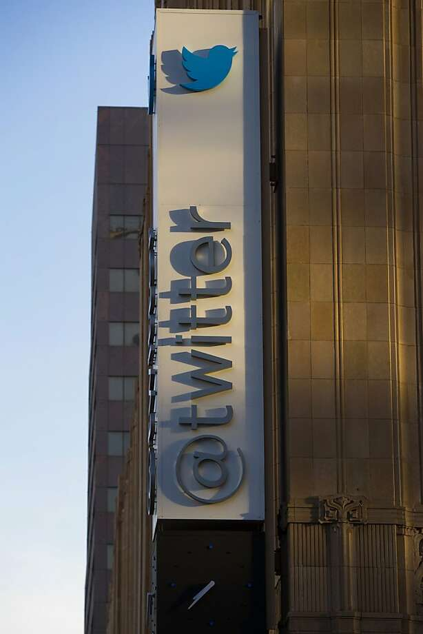 Twitter Inc. signage is displayed on the facade of the company's headquarters in San Francisco's Mid-Market corridor. Photo: David Paul Morris, Bloomberg