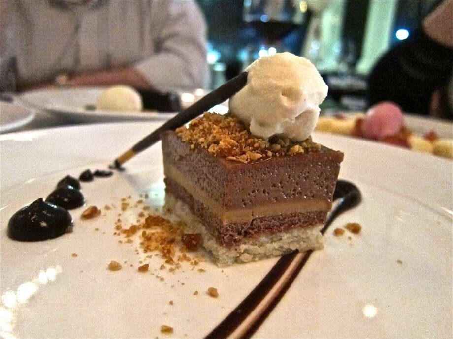 La Mafer dessert at La Balance, with coffee and milk chocolate mousse Photo: Alison Cook