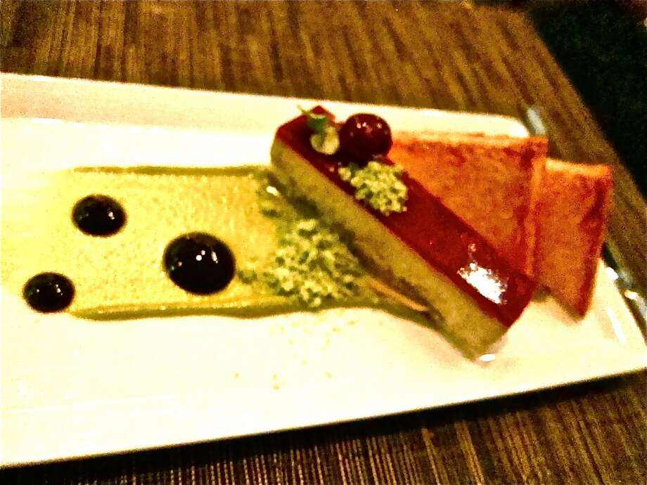 Foie gras terrine with pistachio, almond cake and cherry glaze at La Balance.