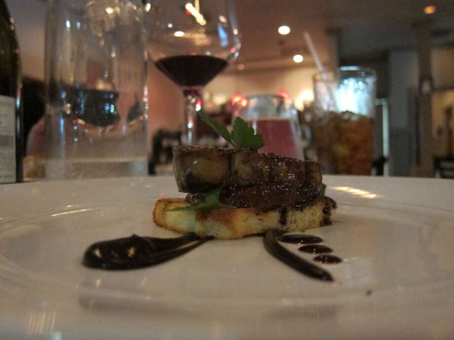 Seared foie gras with chocolate sauce and orange marmalade at La Balance. Photo: Alison Cook