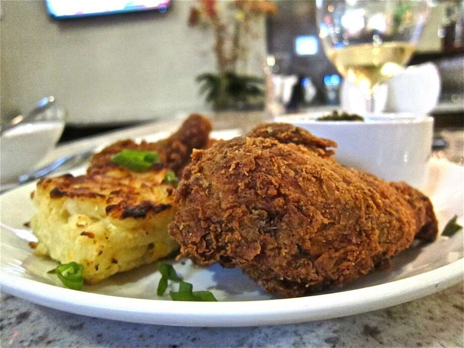 Fried chicken with mac-and-cheese at Heights General Store. Photo: Alison Cook