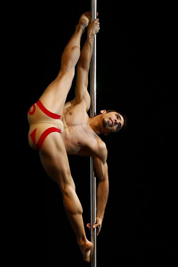 It's for guys too:The Pole Dance South America competition also has a men's category, which the very limber Gregoris Garcia of Venezuela is hoping to win. Photo: Victor R. Caivano, Associated Press