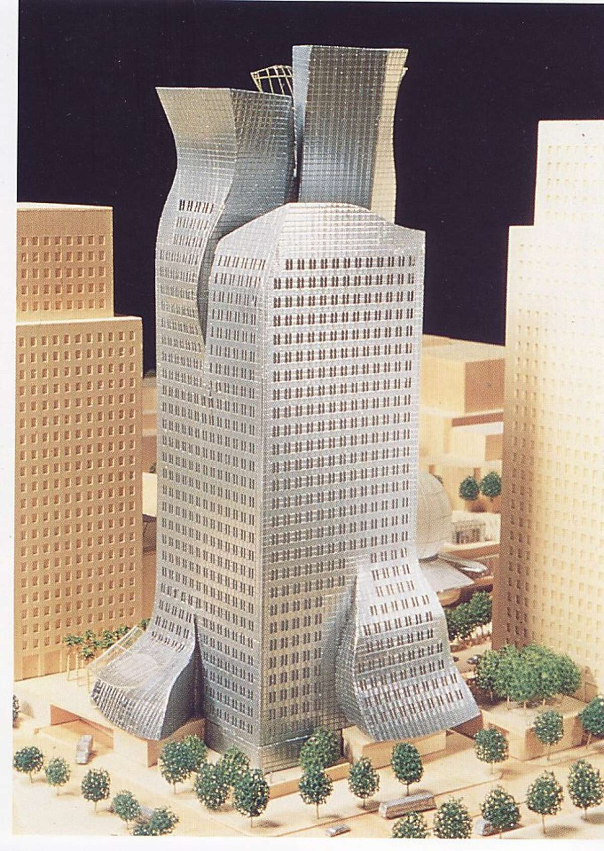 This tower designed by Frank Gehry in 1991 as a headquarters for the Los Angeles Rapid Transit District, but a different architect was selected instead. From the book
