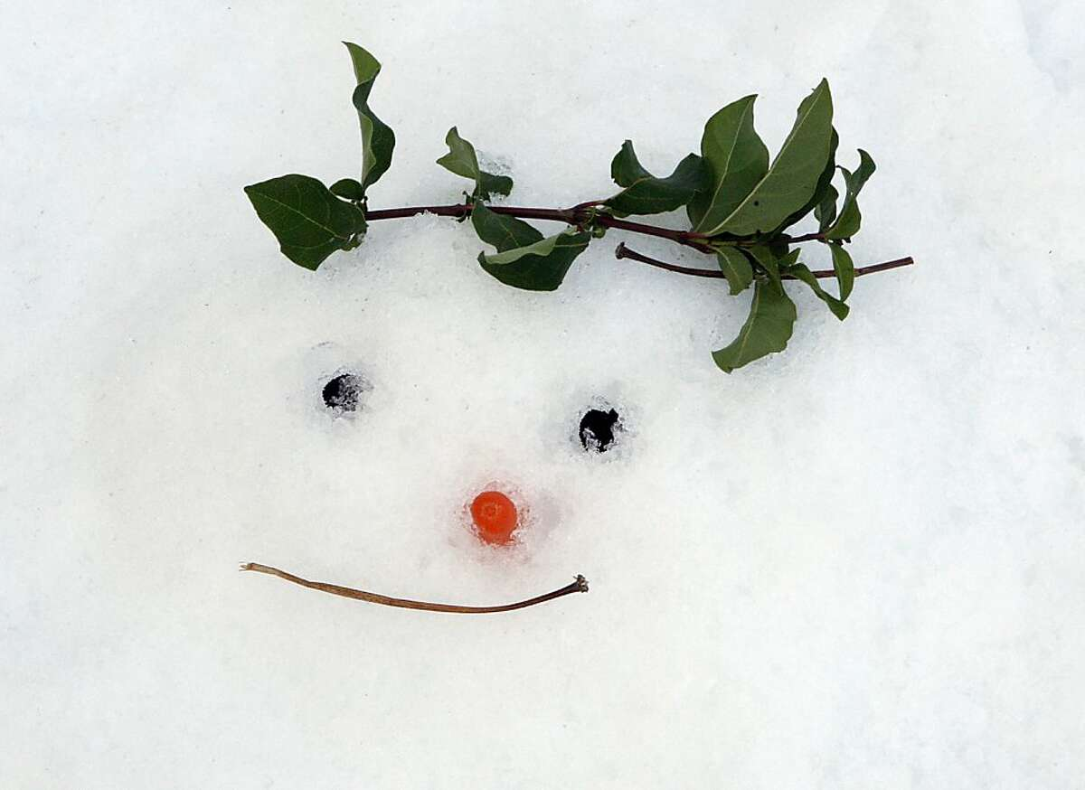 A snowman seen in front of the California Academy of Sciences in San Francisco, Calif., on Tuesday, November 26, 2013. Snow was made this morning in front of the academy to introduce the academy's annual 'Tis the Season for Science' exhibit which opens to the public on November 27.