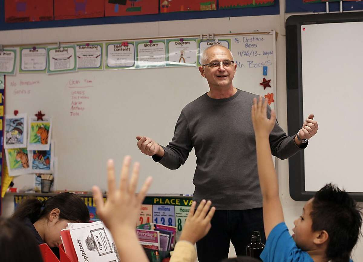 Brian Borsos, a special education high school content specialist from the school district office was called into Guadalupe Elementary School on Tuesday Nov. 26, 2013 in San Francisco, Ca., to fill in for a fourth grade class. The San Francisco Unified School District has puts estimates at around 600 for the number of teachers who called in that day to take a personal day off.