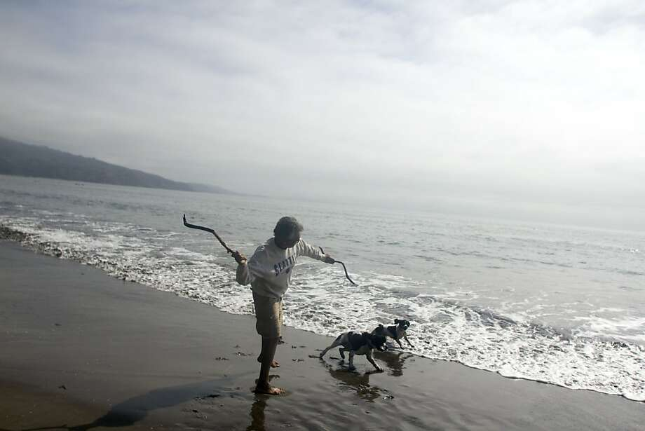 A man cavorts with his dogs in Bolinas, which is 15 miles from the city but can feel another world away. Photo: Brian Canova, The Chronicle