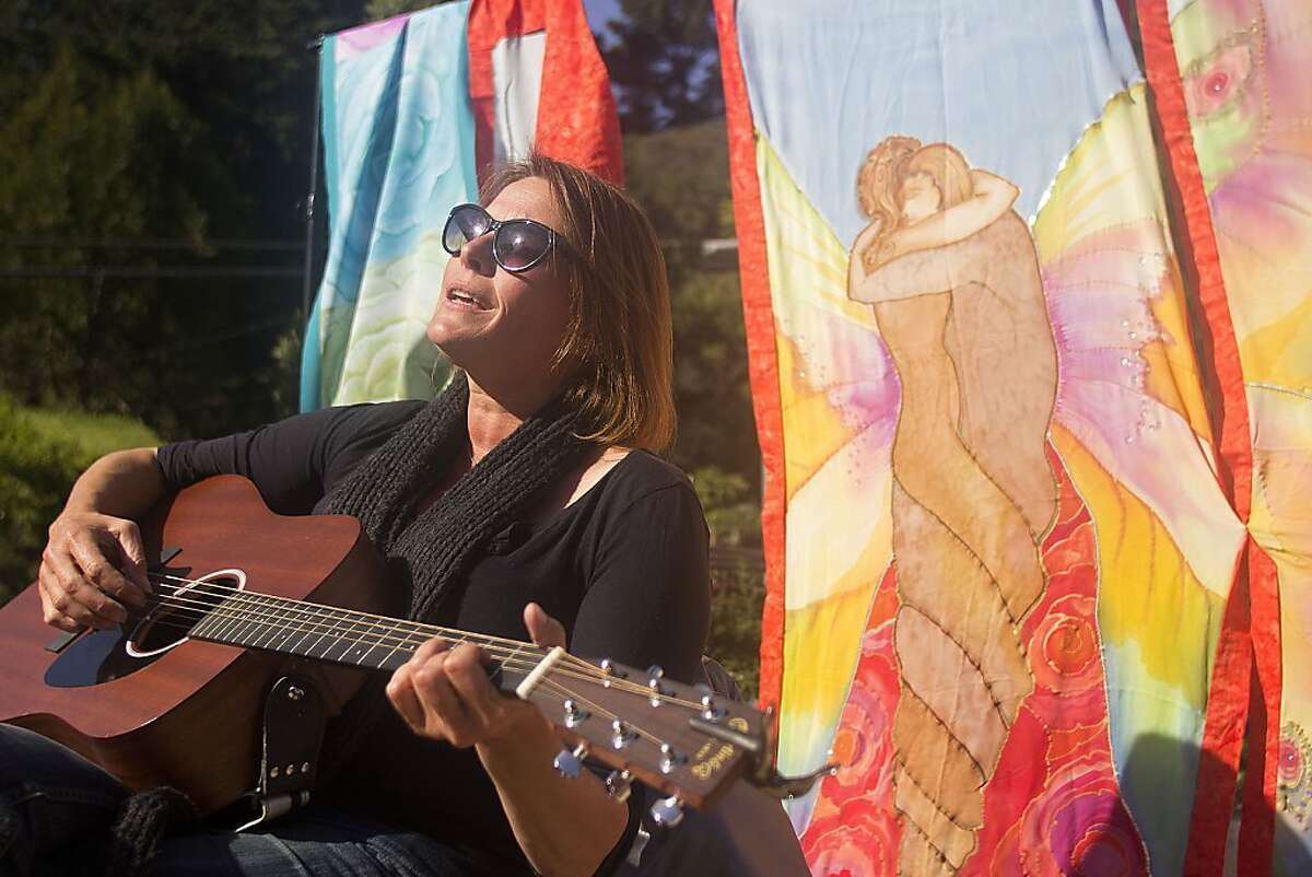 An acoustic performance in the park in Bolinas.