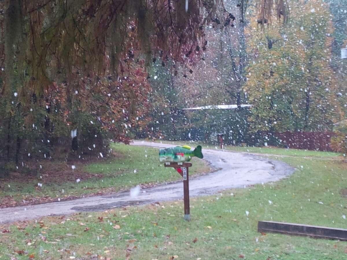 The white stuff showed up at Sandy Creek near Lake Livingston.