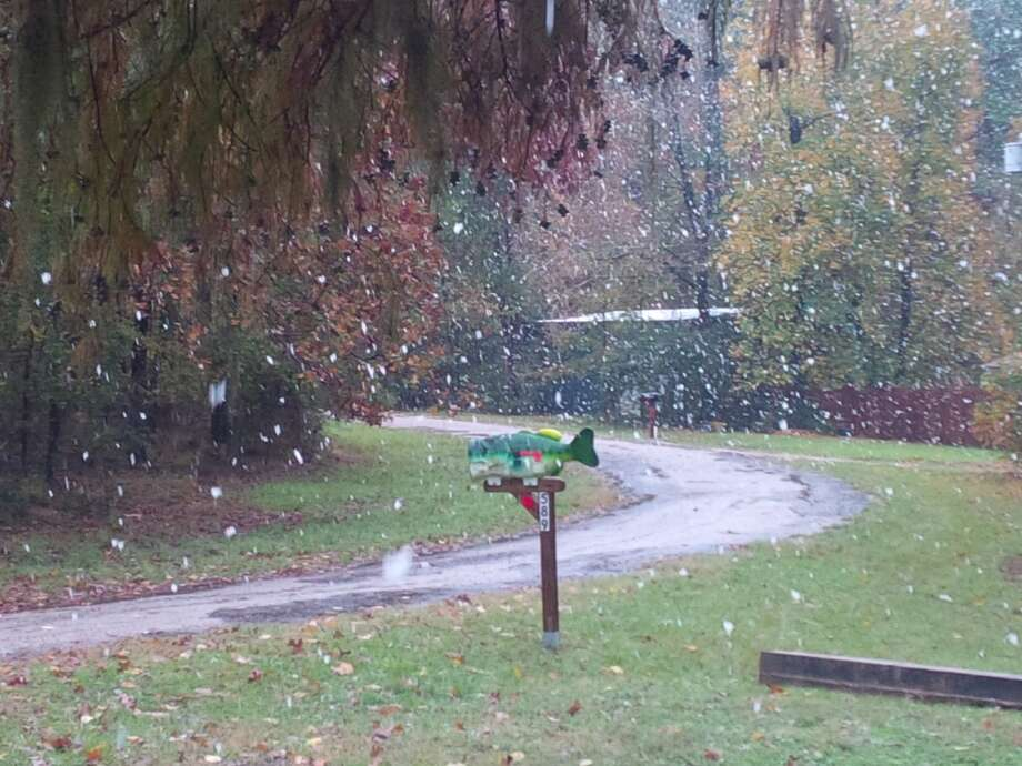 The white stuff showed up at  Sandy Creek near Lake Livingston. Photo: Cindymartinccm@aol.com