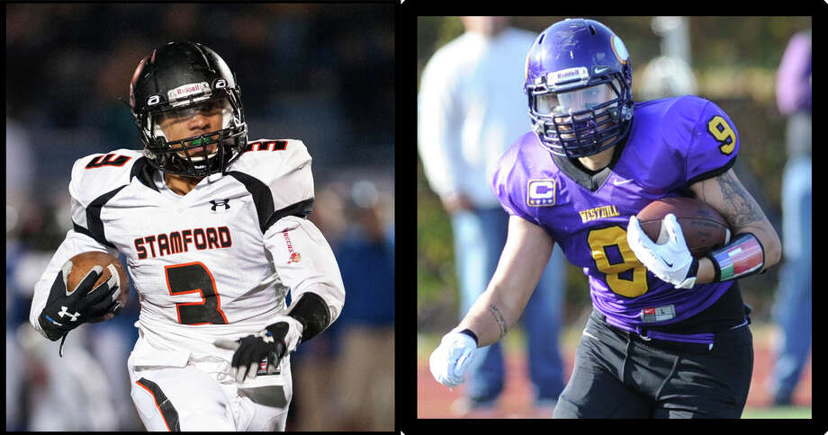 Stamford's Cameron Webb, left, and Westhill's Dante Fargnoli will sqaure off in Thanksgiving morning's football clash for the city title. Photo: File Photo / Stamford Advocate File Photo