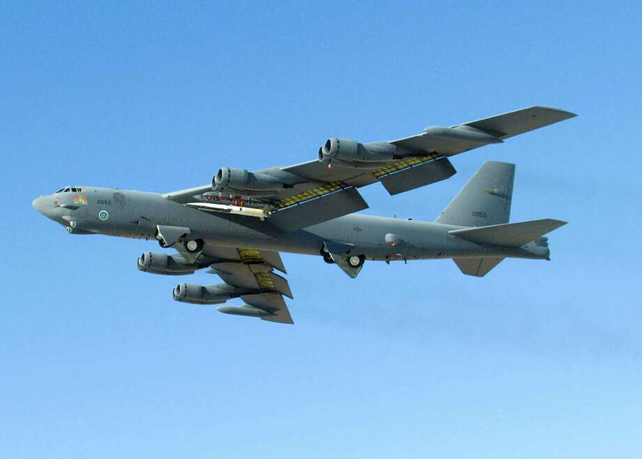 This U.S. Air Force file photo shows a B-52 Stratofortress during a test flight in May 2010. They are nicknamed BUFF for (in polite circles) Big Ugly Fat Fellow. Photo: HO, Handout / AFP