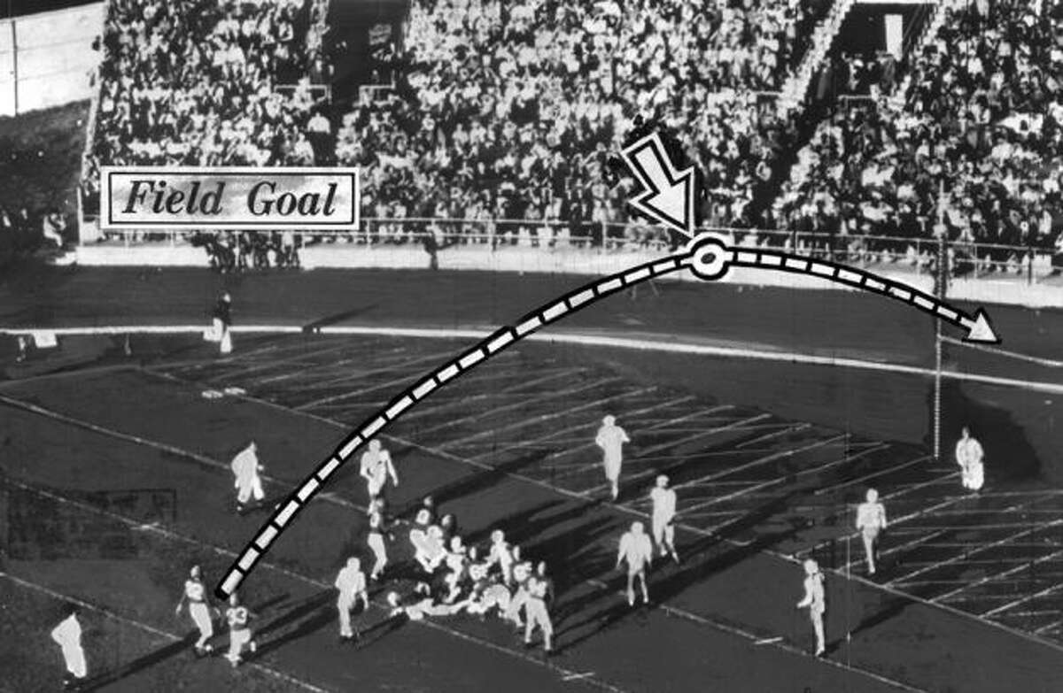 Mid-century meleeBy the late 1940s and the 1950s, things started to even out for the Cougars. Washington State College (the school didn't become a university until 1959) split the rivalry 5-5 in the '50s, when the Cougars hosted the matchup at Spokane's Joe Albi Stadium instead of in Pullman (except in 1954). This annotated photo from 1948 shows kicker Bill Lippincott's game-capping field goal as the Cougars shut out the Huskies 10-0 in Spokane. By the time 1960 rolled around, the Huskies led the all-time series 30-16-6.