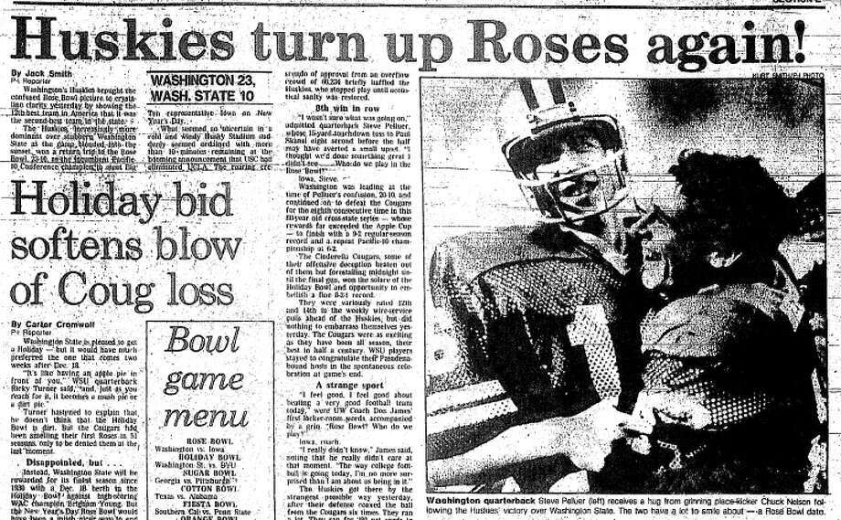 1981: Washington 23, Washington State 10The stakes were high in 1981, with both teams poised to go to the Rose Bowl with a victory. In arguably the most anticipated Apple Cup ever, the No. 17 Huskies prevailed over the No. 14 Cougars in Seattle, sending WSU to the Holiday Bowl instead of Pasadena. The Cougars of Washington State lost to the Cougars of Brigham Young 38-36 in the bowl game. Meanwhile, the Huskies blew out Iowa 28-0 in the Rose Bowl. Photo: Seattle P-I Archives