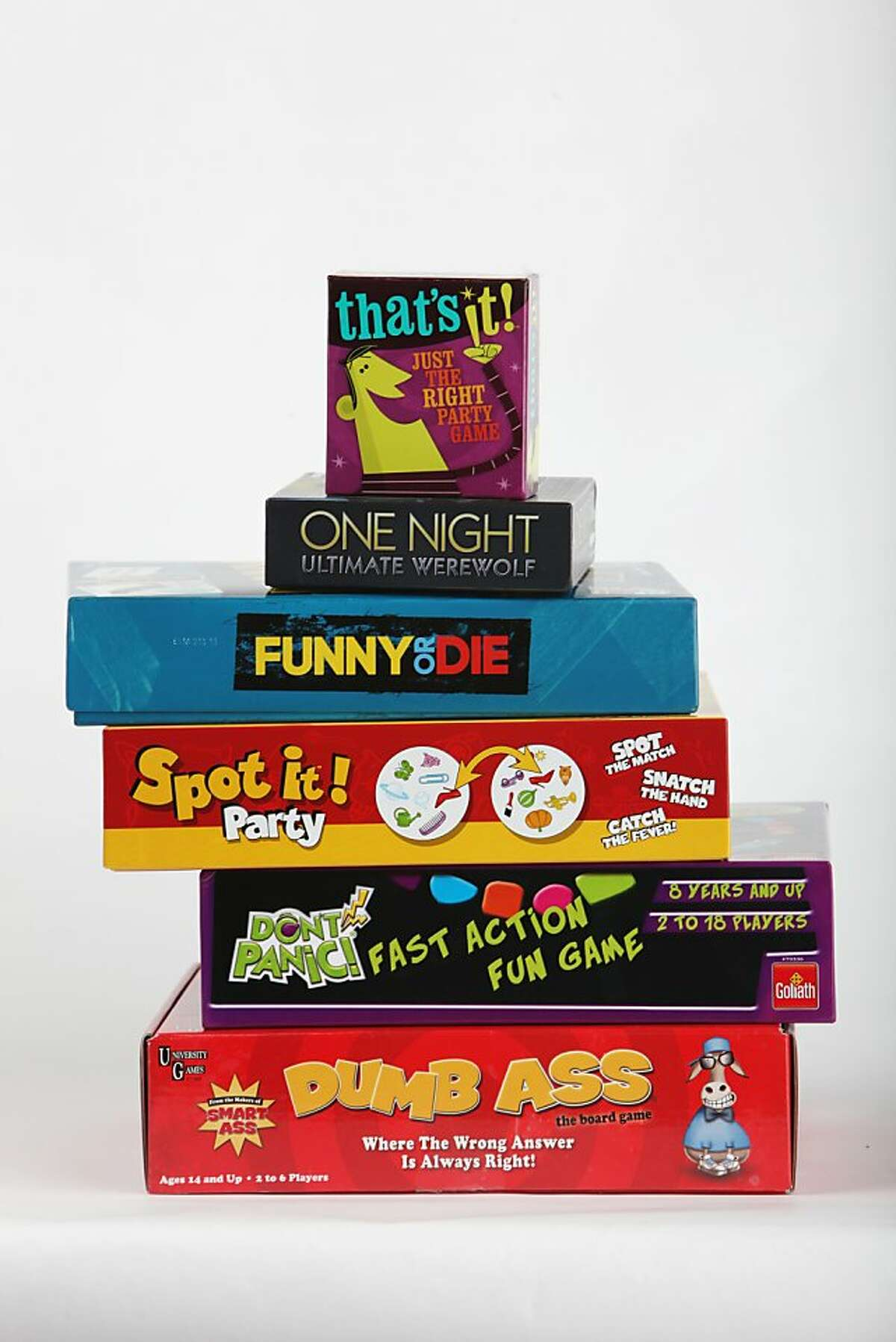 A selection of party games for the annual consumer guide to the year's board games on Tuesday, November 26, 2013 in San Francisco, Calif.