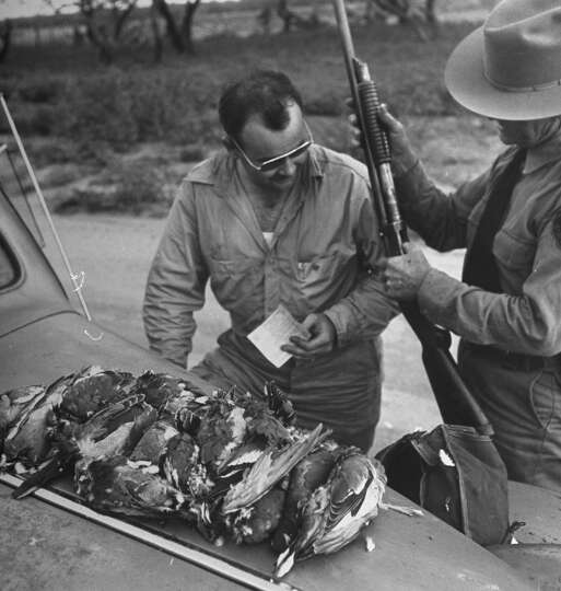 The game warden inspecting the hunter 39 s gun 1946 photo for Texas game and fish