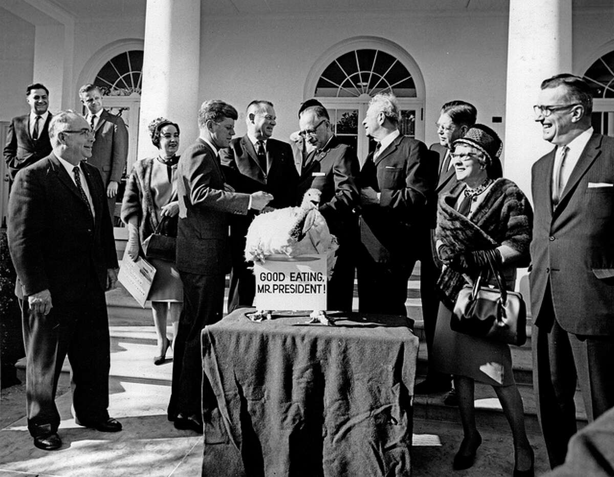 """John F. Kennedy - 1953 President John F. Kennedy received his Thanksgiving turkey from Poultry and Egg National Board members, accompanied by Sen. Everett M. Dirkson in November 1963. While he didn't officially """"pardon"""" the turkey, he is on record of having spared the turkey, just four days before his assassination."""