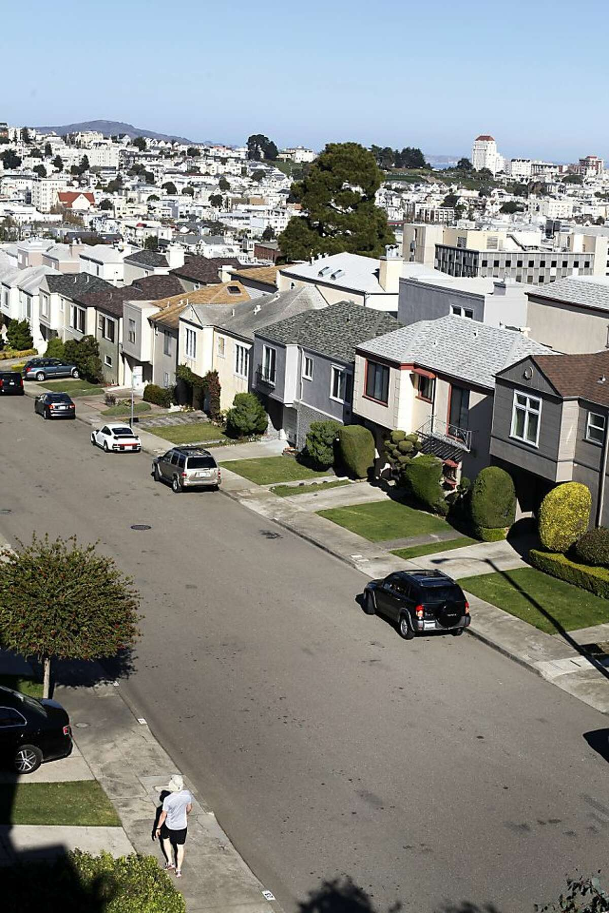 Fortuna Avenue is seen looking north from a rooftop on November 23, 2013 in the Anza Vista neighborhood of San Francisco, Calif.