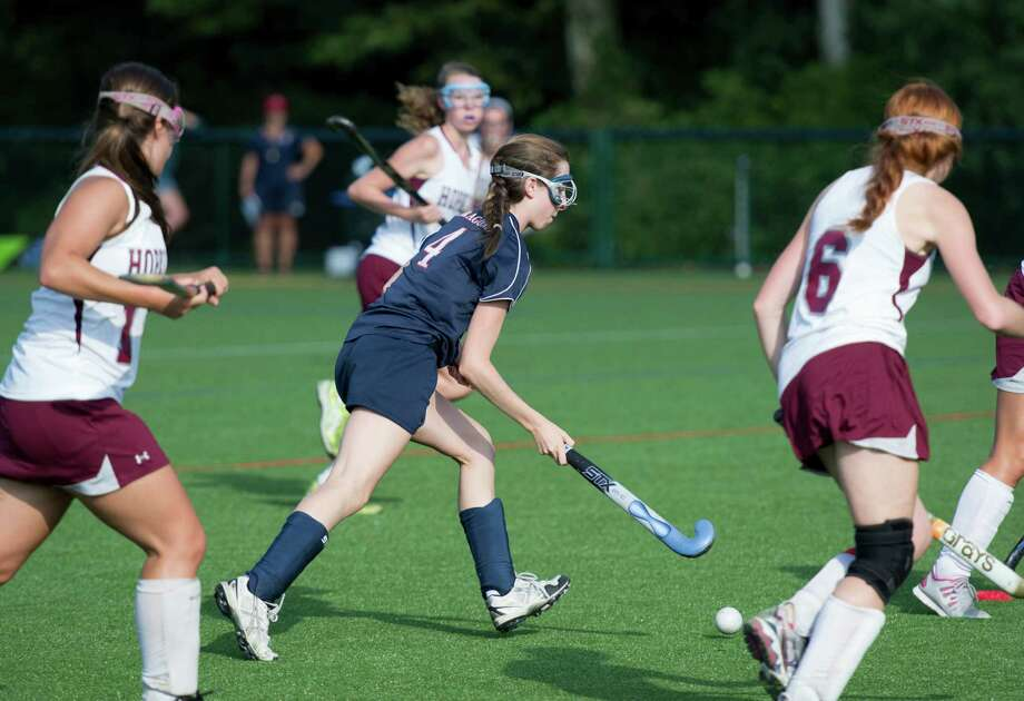 Kate Paliotta, center, scored 22 goals for the GFA field hockey team this season. Photo: Contributed Photo / Westport News Contributed