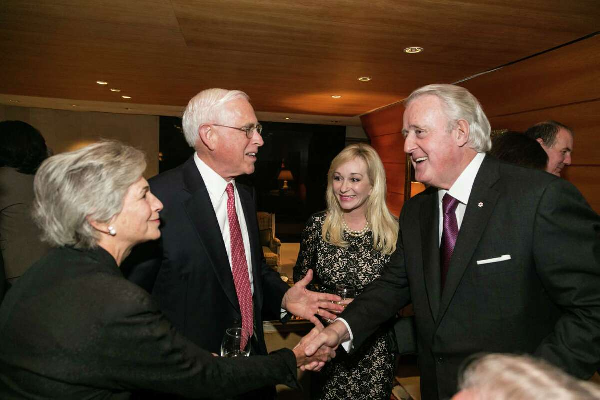 From left, John and Anne Mendelsohn with Linda Mays McCaul and Brian Mulroney at the Nov. 12 Conversation With a Living Legend tribute to former Secretary of State James A. Baker III at the John F. Kennedy Center for the Performing Arts.