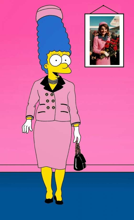 Marge Simpson in Jacqueline Kennedy's pink Chanel wool suit worn on the day of John F. Kennedy's assassination. Photo: Courtesy, Alexsandro Palombo