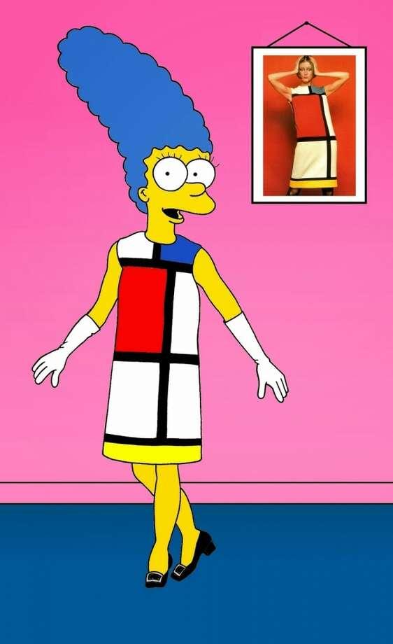 "Marge Simpson in Yves Saint Laurent's ""Mondrian"" day dress, 1965. Photo: Courtesy, Alexsandro Palombo"