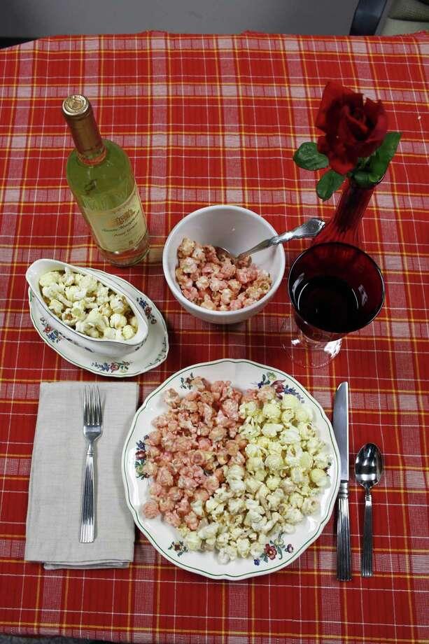 Thanksgiving Popcorn Feast: Popcorn from KingofPop.com tastes like thanksgiving. Flavors include Turkey / Stuffing / Gravy / Cranberry Sauce / Sweet Potatoes / Mashed Potatoes / Apple Pie / Pumpkin Pie / Strawberry Cheesecake Photo: Melissa Ward Aguilar