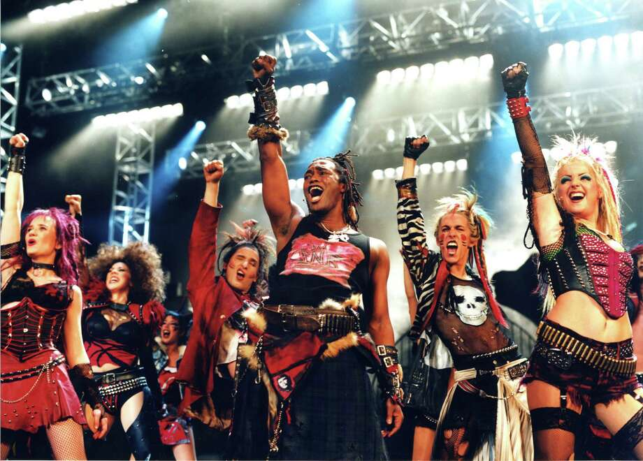 "This image released by Shore Fire Media shows the cast of ""We Will Rock You."" Boasting an original futuristic story by British comedian and writer Ben Elton, the show contains 24 of Queen's biggest songs including ""Another One Bites the Dust,"" ""Crazy Little Thing Called Love,"" ""We Are The Champions,"" ""Bohemian Rhapsody"" and ""We Will Rock You.""  The tour launches in Baltimore on Oct. 15 and hits more than a dozen states and Canada over the next year, ending next summer in Los Angeles.  (AP Photo/Shore Fire Media) ORG XMIT: NYET307 / Shore Fire Media"
