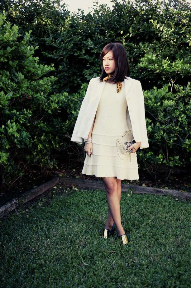 Houston fashion blogger Melissa Chou of We Wear Things blog is wearing a dress by Zara, blazer from Ann Taylor, Saint Laurent shoes and a Miu Miu scarf. Photo: Melissa Chou