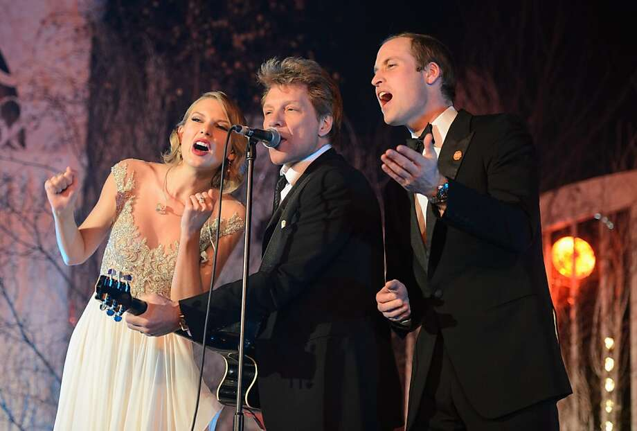 Can't wait for the CD: Taylor Swift and Jon Bon Jovi are joined by the crooner who would be crowned, Prince 