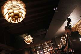 A view of the chandeliers as jazz is being played at Hillstone restaurant in San Francisco, Calif., on Tuesday, November 26, 2013.