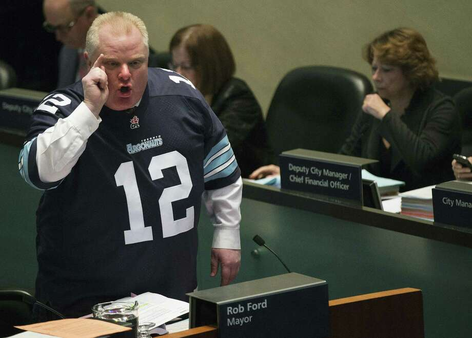A reader appreciated the humor in a recent Express-News column about Toronto Mayor Rob Ford, shown here speaking to council members. Photo: Nathan Denette / Associated Press