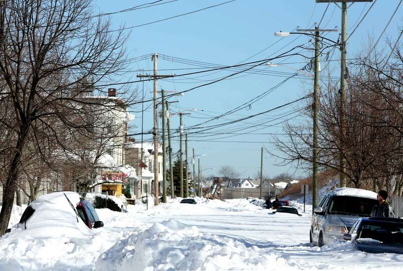 Nichols St on the East Side of Bridgeport, Conn. was still not plowed in the afternoon on Sunday Feb