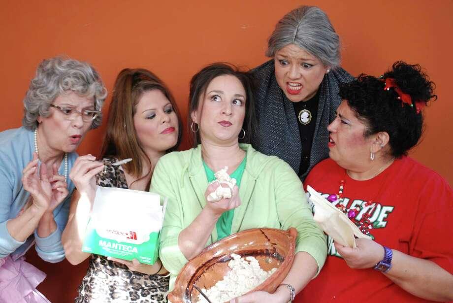 """Rita Duggan (from left), Kinya Cano, Melissa Saucedo, Lorraine Pulido and Sonia Rodriguez appear in """"Las Nuevas Tamaleras."""" Photo: Burras Finas Productions"""