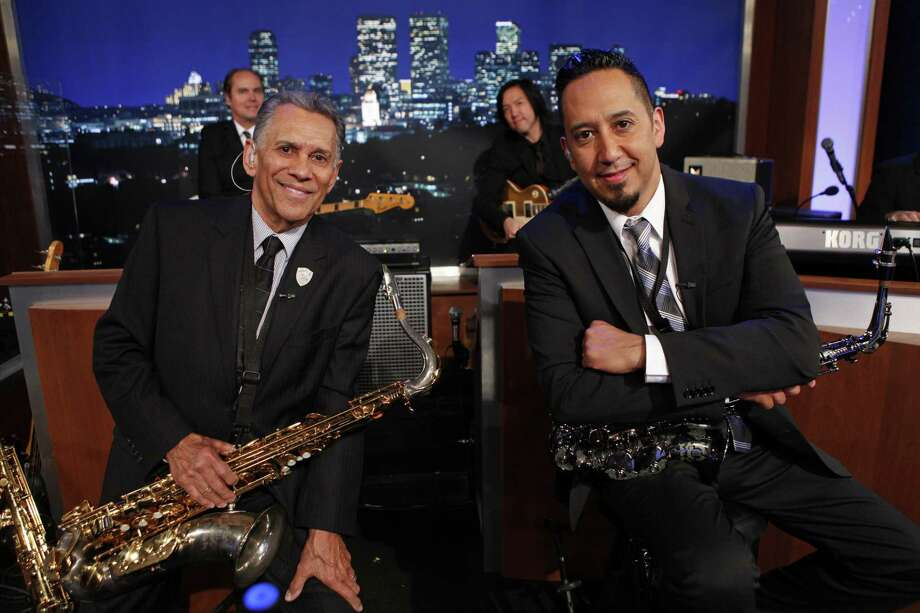 "After working as a butler at Caesars Palace, Cleto Escobedo Jr. — a veteran of the Dell-Kings and Los Blues in San Antonio — joined his son on ""Jimmy Kimmel Live."" Photo: ABC"