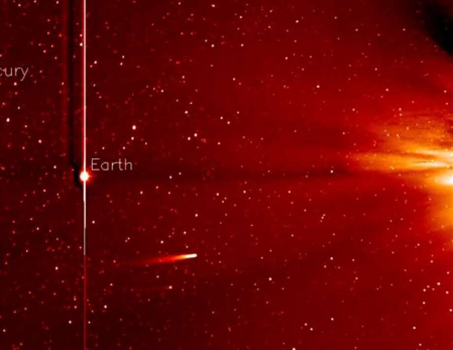 A screen capture from the latest movie from the STEREO-A spacecraft's Heliospheric Imager shows the comet on Nov. 25, 2013.SciGuy: Comet ISON wounded, but not dead after grazing sun