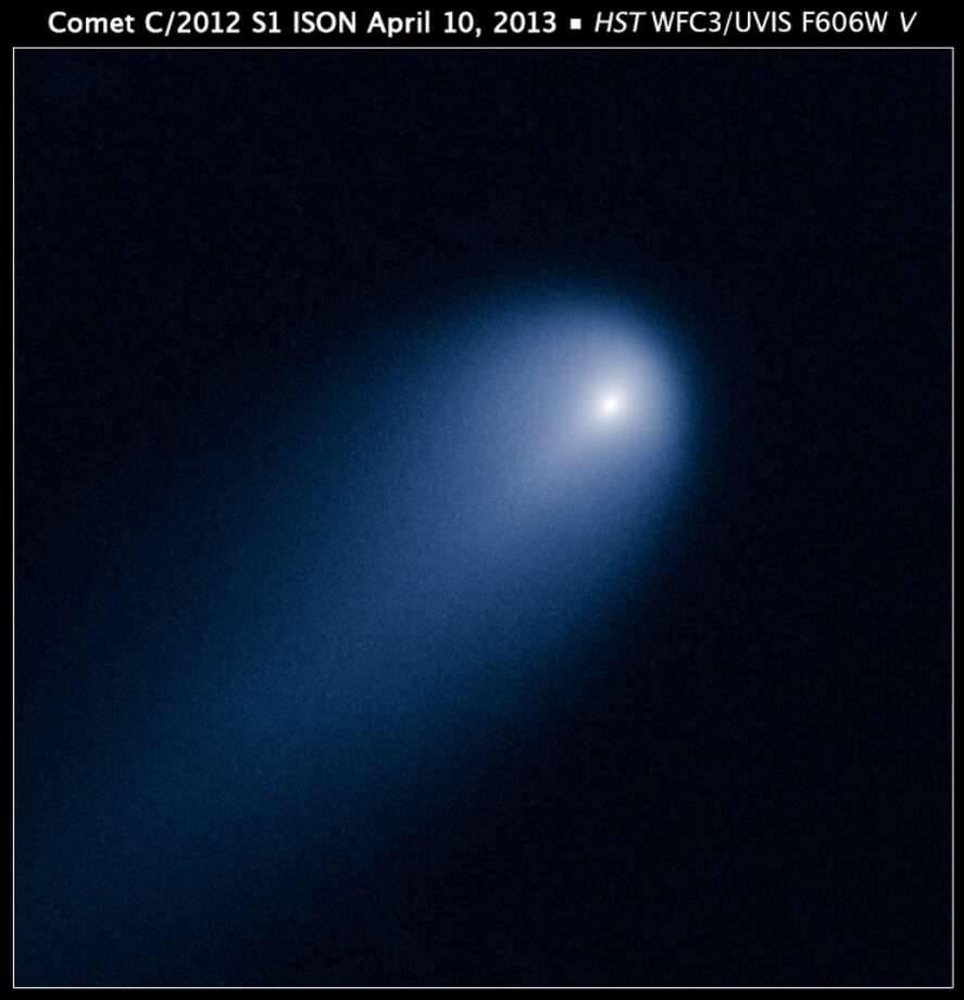 Hubble's view of Comet ISON (C/2012 S1) is show in this April 10, 2013 photo. This image was taken in visible light. The blue false color was added to bring out details in the comet structure.SciGuy: Comet ISON wounded, but not dead after grazing sun Photo: NASA, ESA, J.-Y. Li (Planetary Science Institute)