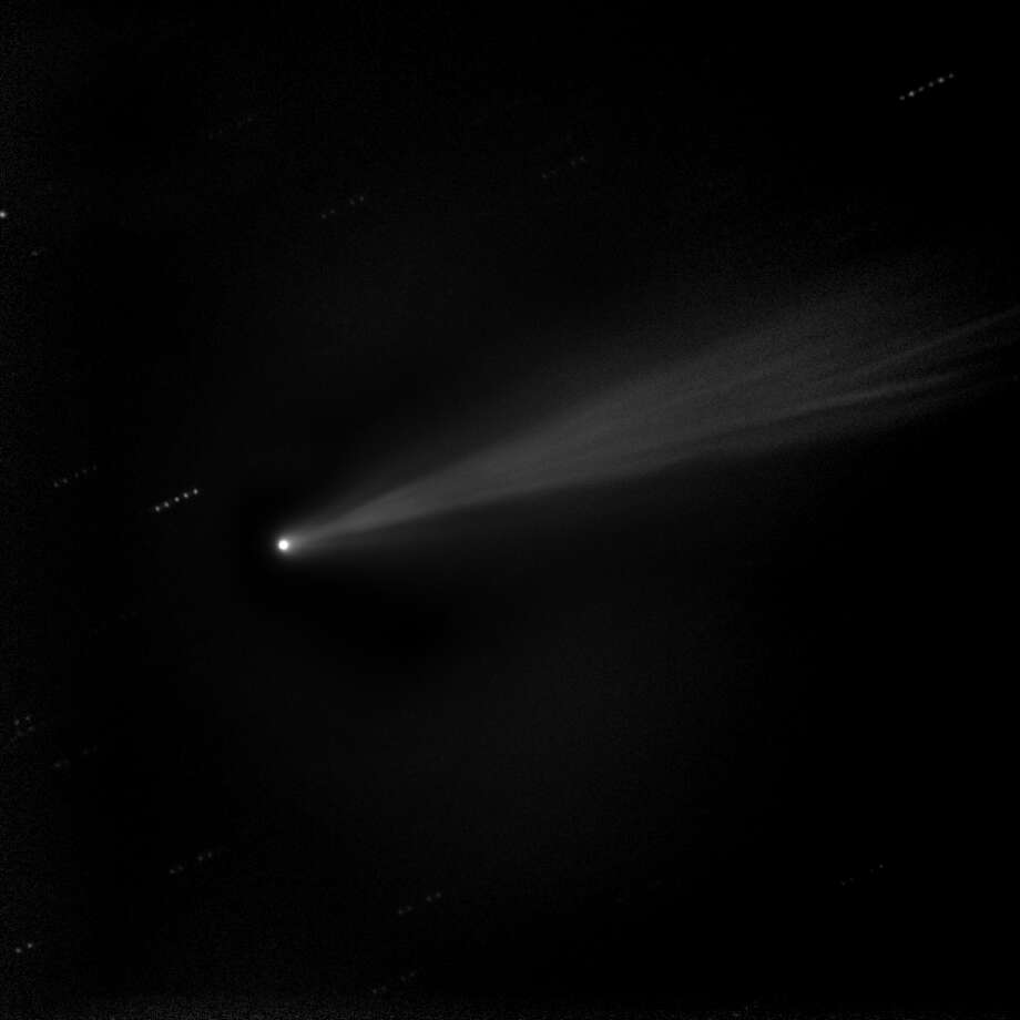 "Taken on Nov. 19, 2013, this image shows a composite ""stacked"" image of comet ISON. These five stacked images of 10 seconds each were taken with the 20"" Marshall Space Flight Center telescope in New Mexico. This technique allows the comet's sweeping tail to emerge with more detail.SciGuy: Comet ISON wounded, but not dead after grazing sun Photo: NASA/MSFC/MEO/Cameron McCarty"