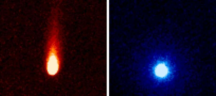 These images from NASA's Spitzer Space Telescope of comet ISON were taken on June 13, when ISON was 310 million miles from the sun.SciGuy: Comet ISON wounded, but not dead after grazing sun Photo: NASA/JPL-Caltech/JHUAPL/UCF