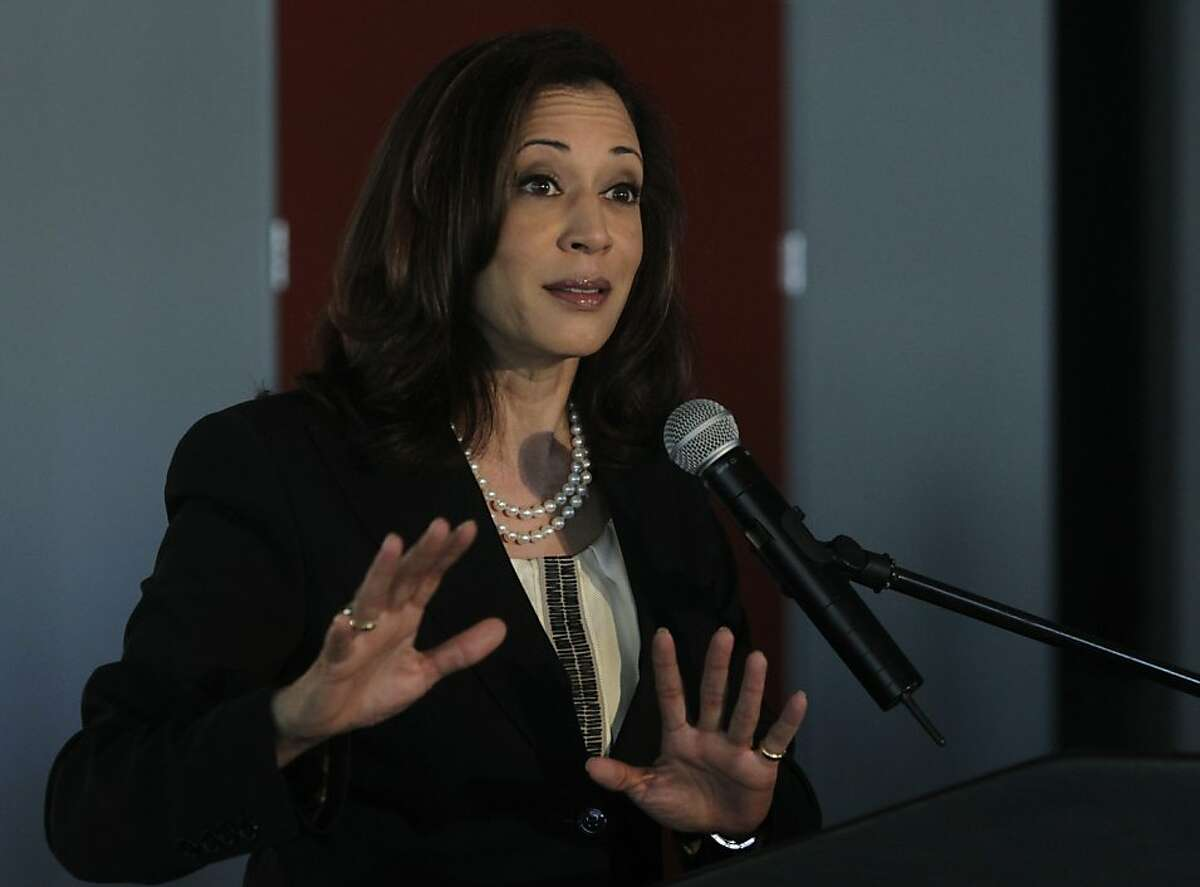 California Attorney General Kamala Harris delivers the keynote speech at the Future of Privacy+Innovation conference in San Francisco, Calif. on Wednesday, April 10, 2013.