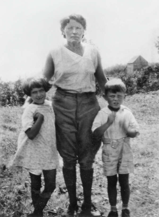 Gloria Stubing Rist with her mother and brother in the 1930s on the family's plot of land near Ticonderoga. Rist, who is now 88, has written a memoir of her hardscrabble childhood. (Photo contributed by SUNY Press.)