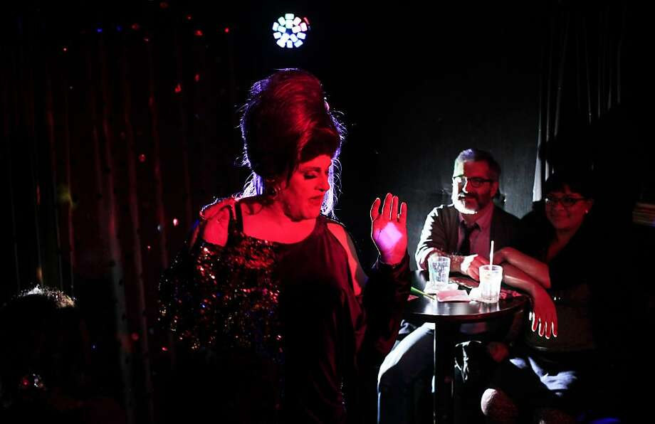 Collette LeGrand-Ashton in the Dream Queens Revue  lip-syncs at Aunt Charlie's Lounge. Photo: Mike Kepka, The Chronicle