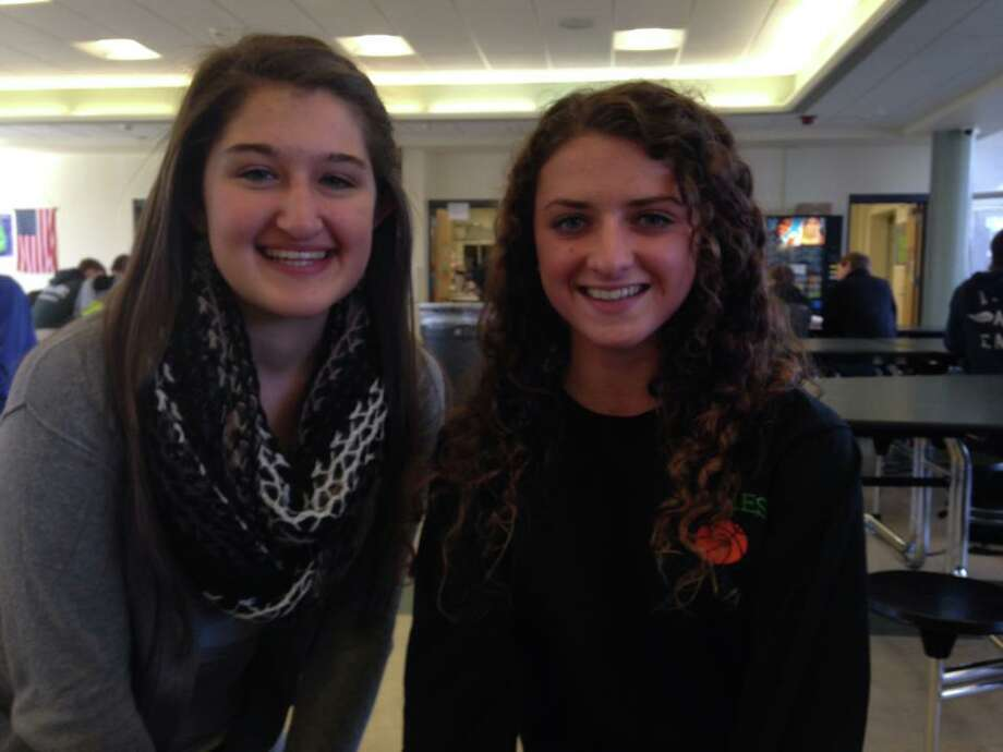 Sarah Hollister (left) and Madeline Saccoccio (right) both seniors at Schalmont High School, are thankful for their good health and family.