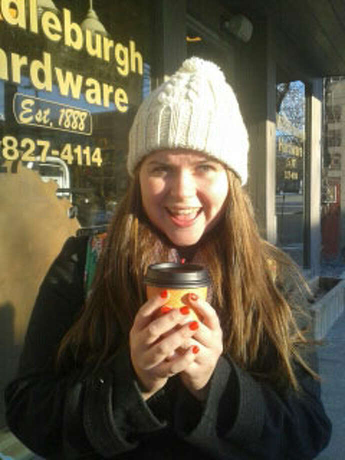 Emily Jenkins, 17, Middleburgh High School, says she's thankful for free hot chocolate from the hardware store. Photo: Chloe Snyder