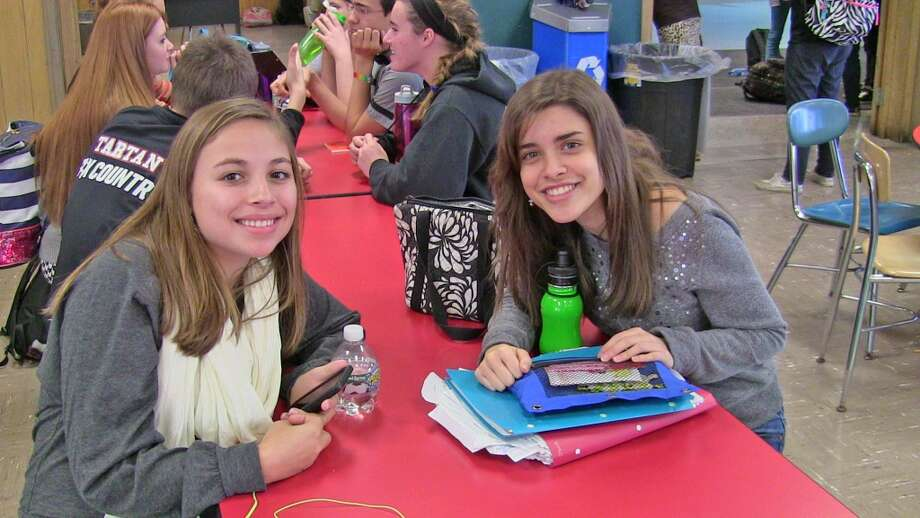 Haley Cooper, 17, left, is thankful for her family, pets, and friends. Christina Piccirillo, 17, right is thankful for family and the life she has. Both are students at Scotia-Glenville high school. Photo: Olivia Dunn