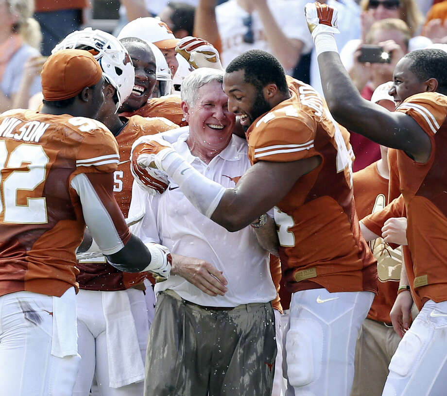Jackson Jeffcoat (right) and other UT seniors want to finish their remaining days with Mack Brown on a positive note. Photo: Edward A. Ornelas / San Antonio Express-News