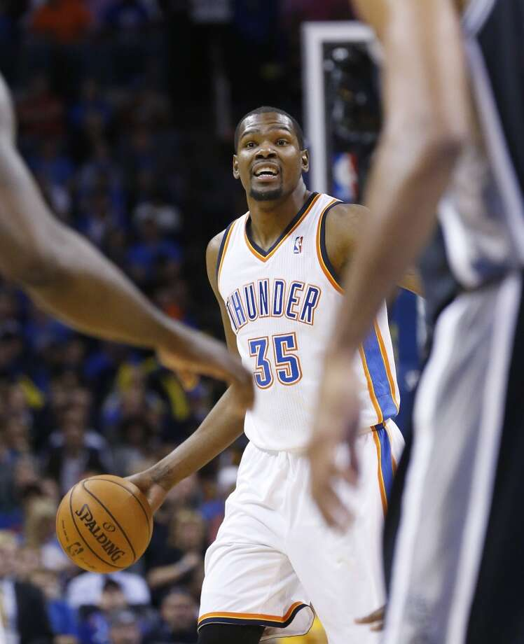 Oklahoma City Thunder forward Kevin Durant (35) is pictured in the first quarter of an NBA basketball game against the San Antonio Spurs n Oklahoma City, Wednesday, Nov. 27, 2013. (AP Photo/Sue Ogrocki) Photo: Associated Press