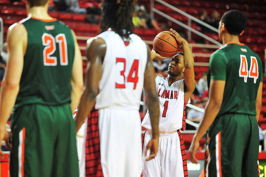 Lamar University Keilan Blanks shoots a free throw during the first quarter against Texas Pan-American at Montagne Center, Wednesday. Michael Rivera/@michaelrivera88